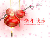 The Chinese new year. Chinese Translation: happy new year . Postcard Chinese New Year Lantern