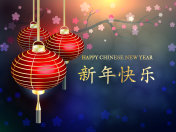 The Chinese new year. Chinese Translation: happy new year. Postcard Chinese New Year Lantern