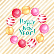 New year postcard or banner design template.