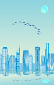 Geese above city