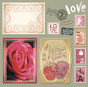 vintage postcards with  and post stamps for Valentines Day