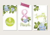 Beautiful greeting card with the holiday of March 8, International Women's Day with spring flowers and lettering.