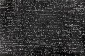 Very complicated math formula on blackboard