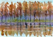watercolor autumn landscape painting
