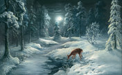 Winter Night In Forest, oil painting