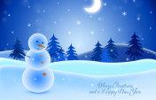 New Year's illustration. Snowman.