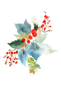 Christmas watercolor card with spruce and berries