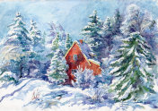 house in the snow-covered forest