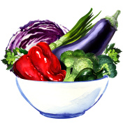 fresh vegetables - eggplant, cabbage, pepper, green onion, broccoli isolated