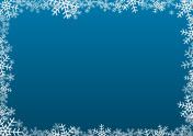 White snowflake frame on dark blue background
