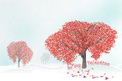 love tree full of heart shaped leaves