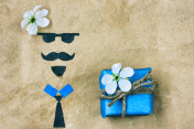 Father's day, greeting card applique face and gift