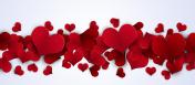Valentine Red Hearts Banner