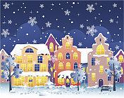 Winter night street