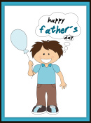 Happy father?s day card with smiling boy and balloon