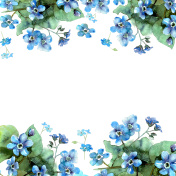 Cute watercolor circular flower frame. Background with watercolor forget-me-nots.