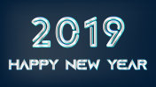 silver 2019 new year christmas on dark background