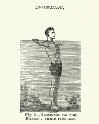 Victorians sports, Swimming, Learning breaststroke, 19th Century