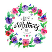 Happy Mother's Day greeting card with pansies and lettering Happy Mother's Day. Watercolor pansy wreath.