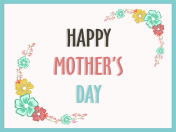 Happy Mother's Day text with colorful flowers, Elegant greeting card design.