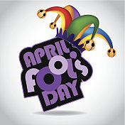 April Fool's Day design element with colored jester hat