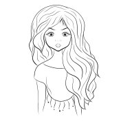 Beautiful girl, coloring picture