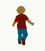 Silhouette of a small child in a shirt and trousers