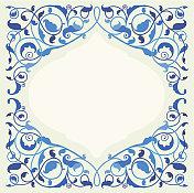 Islamic floral art in monochromatic blue
