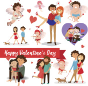 set of Valentine's Day, lovers, love, cupid