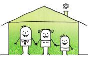 Cartoon family at home