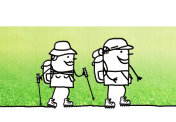 Cartoon couple walking hikers