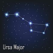 constellation ' Ursa Major' star in the night sky. Vector il