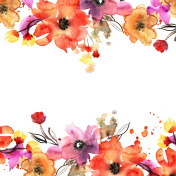 Cute watercolor hand painted flower frame