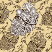 Seamless pattern with human heart with key and steampunk mechanical parts