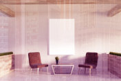 White office waiting room, poster, armchairs toned