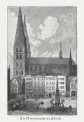 St. Mary's Church in Lübeck, Germany, wood engraving, published 1887