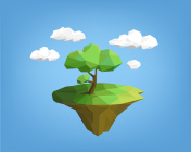 landscape low poly style - tree on island