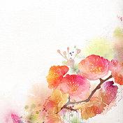 Watercolor painting sakura