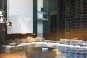 Wooden living room corner gray sofa toned