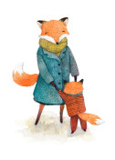 Hand painted illustration of a mother-fox and her child, playing tohether. Watercolor isolated on white background.