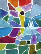 sailboat in watercolor mosaic painting