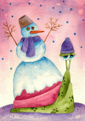 Snail with a snowman on his shell. Hand painted watercolor illustration.