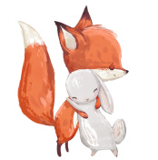 cute watercolor fox with hare
