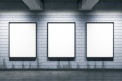 Metro station with empty posters