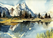 Beautiful watercolor mountain landscape.