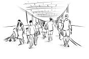 people walking free hand sketch