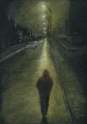 Lone man on the night city road