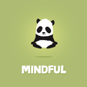 Cute cartoon illustration of panda meditating and levitating
