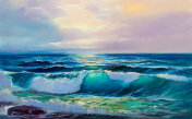 Sea wave, oil painting
