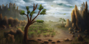 Painting of a landscape with trees and mountains on a windy, cloudy day